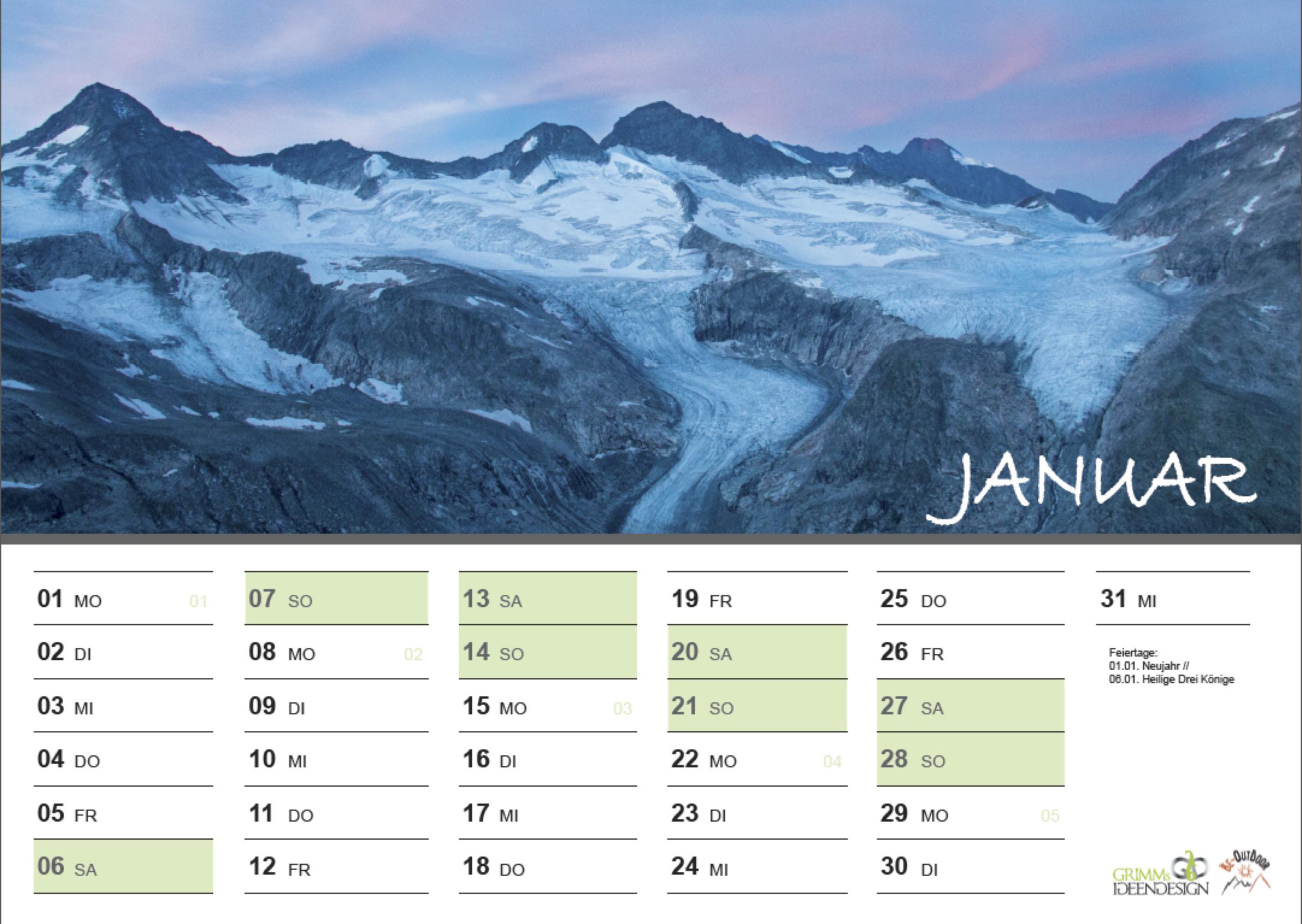 Januar - Fotokalender 2018 - Schönheit der Berge von Alexandra Grimm