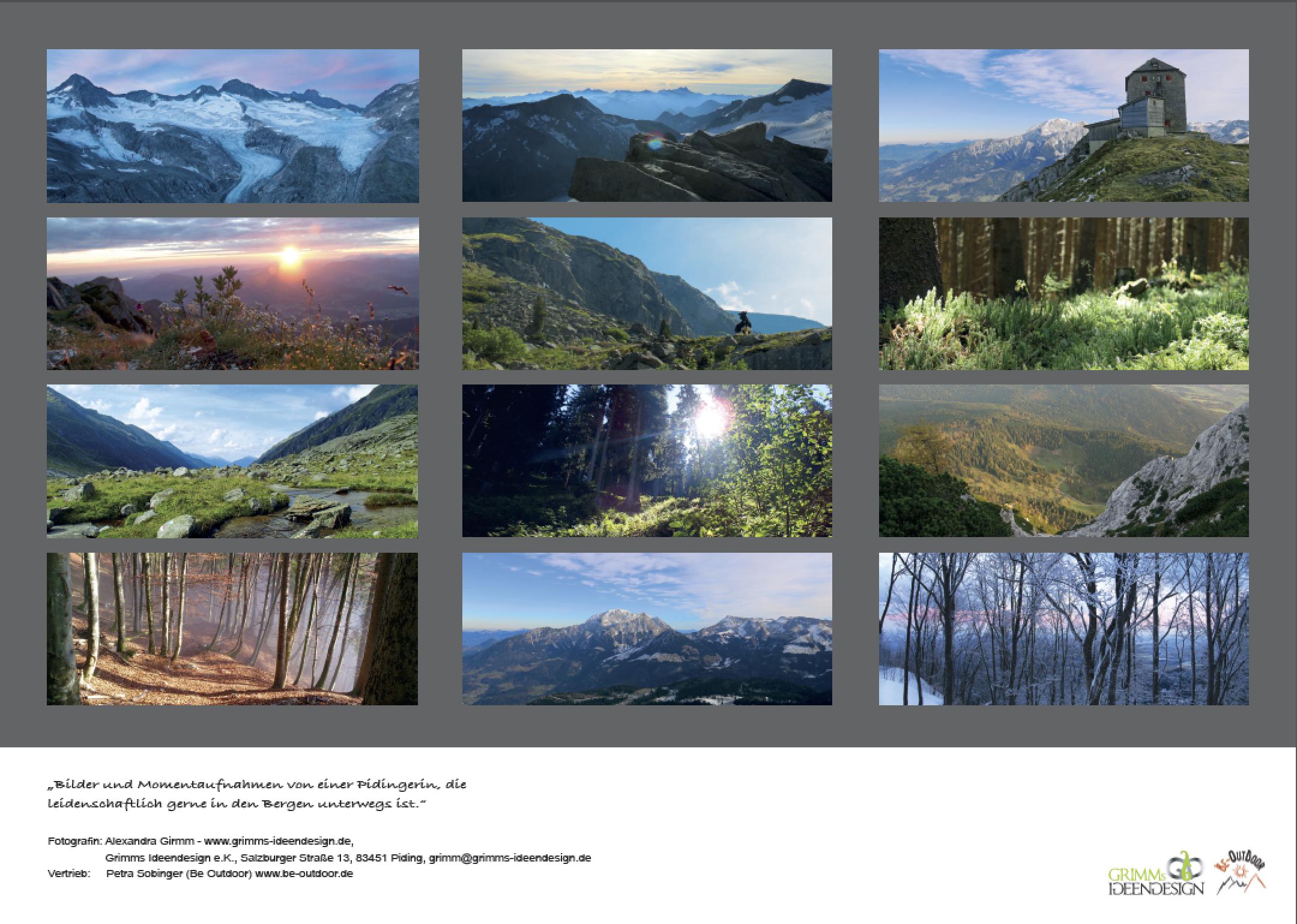 Übersicht - Fotokalender 2018 - Schönheit der Berge von Alexandra Grimm