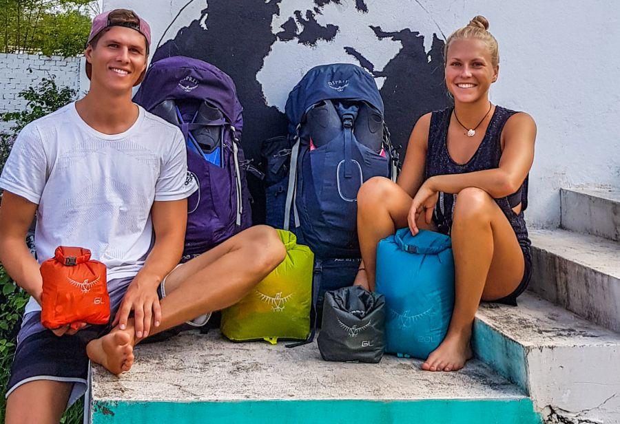 Annika und Timo ein Jahr auf Tour - Osprey Dry Light Packsäcke (c)Annika & Timo