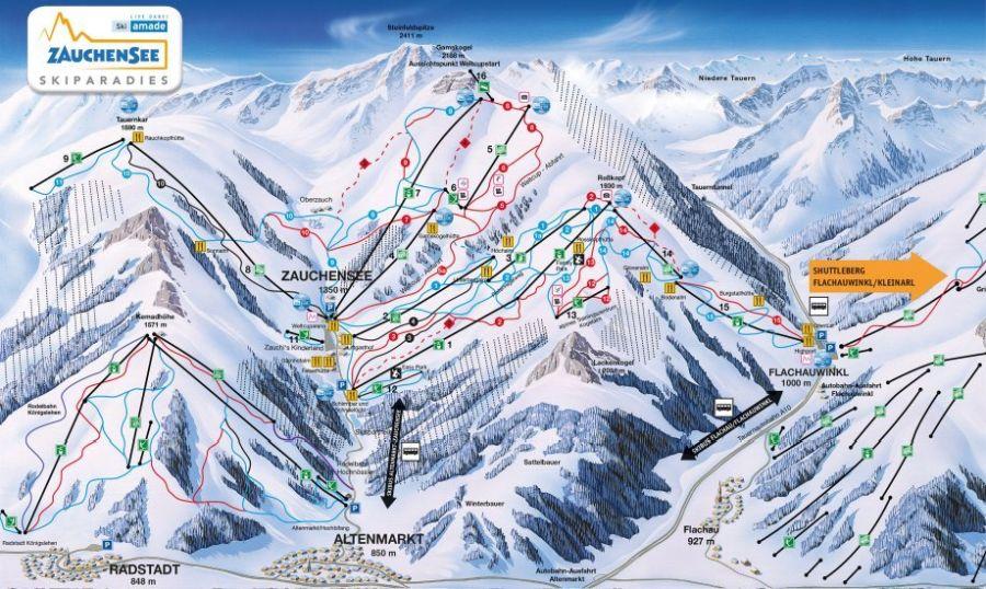 Skiparadies Zauchensee Flachauwinkl Panoramakarte