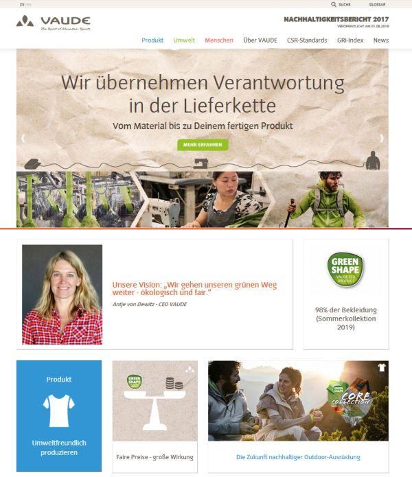 VAUDE Nachhaltigkeitsbericht 2017 (c)Vaude
