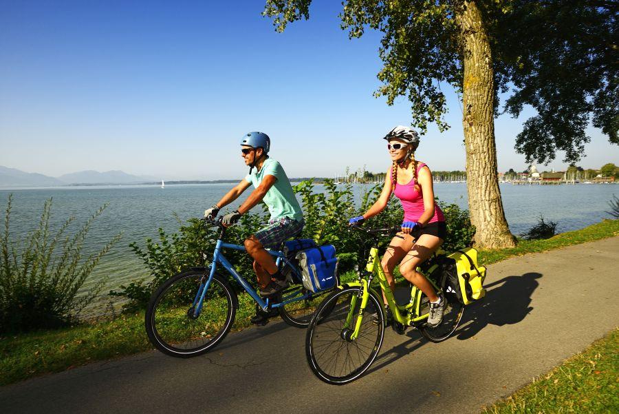 Radfahrer auf dem Chiemsee-Radweg bei Seebruck, Chiemgau, Oberbayern, Deutschland, Europa - Model Released -