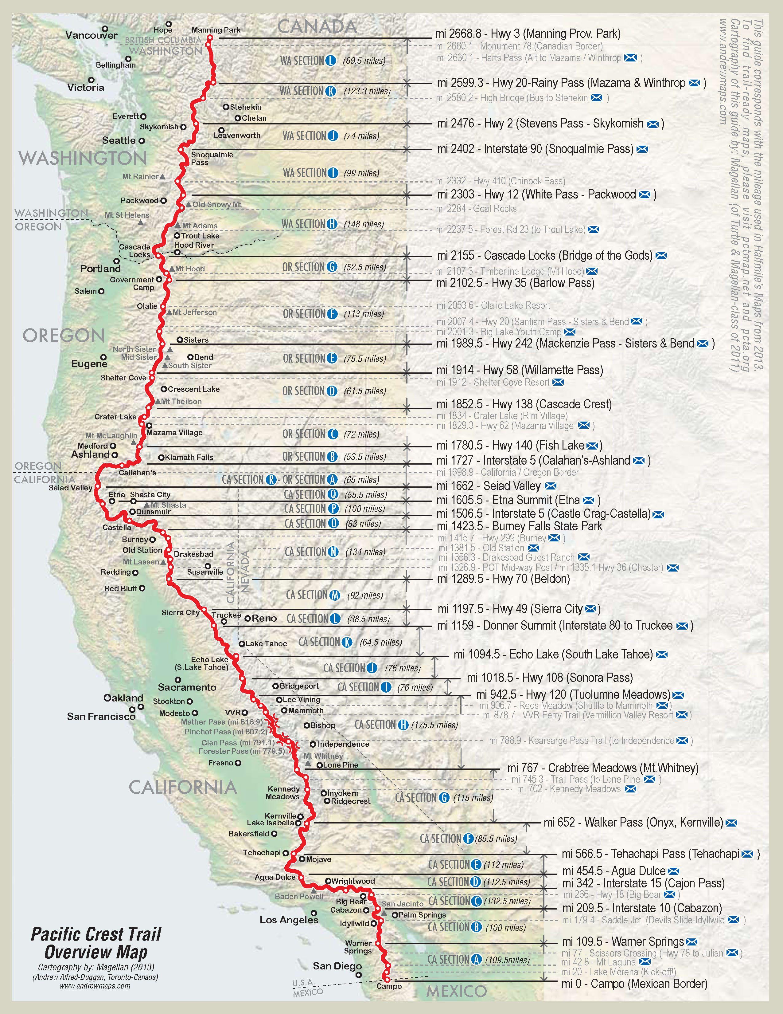 Verlauf des Pacific Crest Trails - von Süden nach Norden https://www.pinterest.de/DiscoverKlamath/
