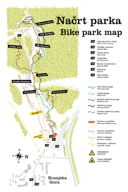 (c)Bikepark Kranjska Gora - Park Map