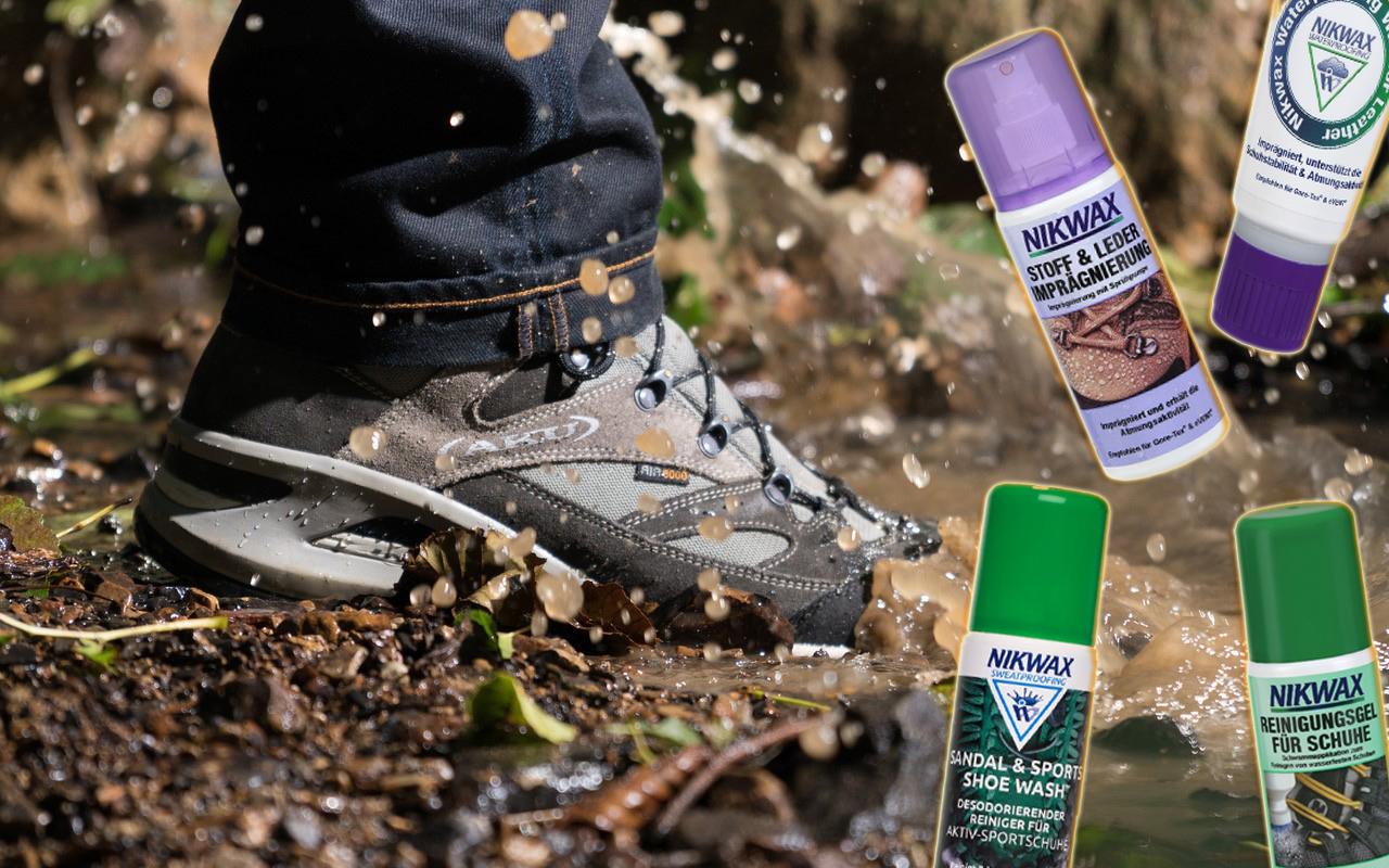 (c)be-outdoor.de Kollage - Nikwax Schuhpflege